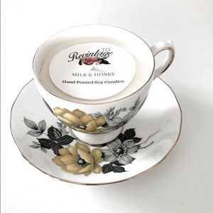 Vintage Queen Anne Bone China Tea Cup Candle